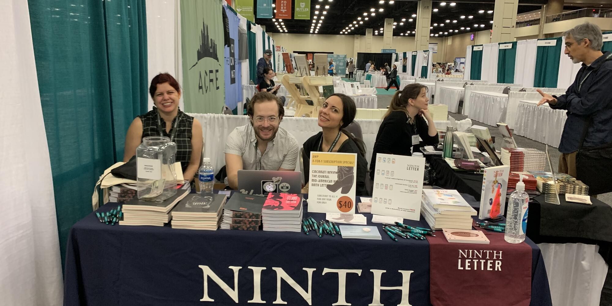 MFA students working the Ninth Letter table at AWP 2020